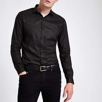 River Island Black glitter spot print button-down shirt