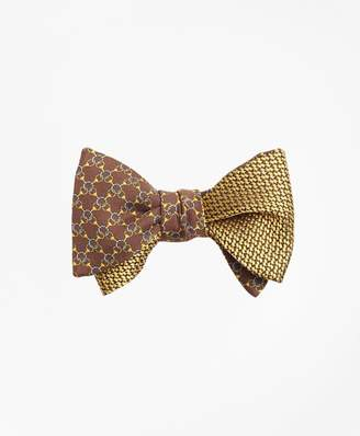 Brooks Brothers Chain Link Print with Tonal Solid Reversible Bow Tie