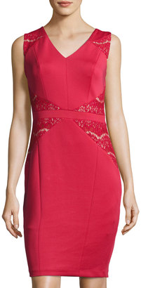 JAX Lace-Inset Sleeveless Sheath Dress, Red $89 thestylecure.com