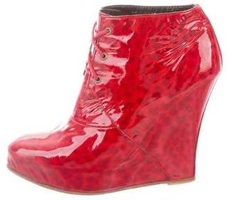 Opening Ceremony Patent Leather Wedge Boots