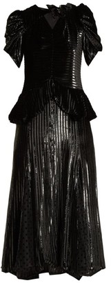 Erdem Dianthia Striped Velvet Midi Dress - Womens - Black