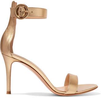 Gianvito Rossi Portofino 85 Metallic Leather Sandals - Gold