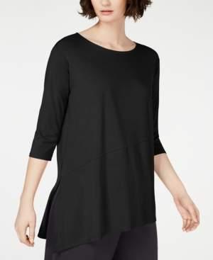 Eileen Fisher Asymmetrical Vented-Hem Tencel Top, Regular & Petite, Created for Macy's