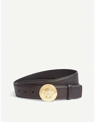 Versace Medusa round buckle leather belt