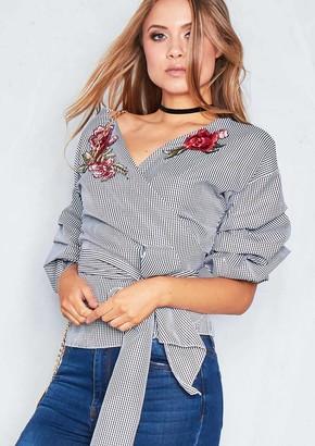 5737f6095ca47 Missy Empire Missyempire Berta Black Gingham Floral Puff Sleeve Front Tie  Top