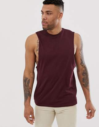 Asos Design DESIGN organic relaxed fit tank with dropped armhole in burgundy