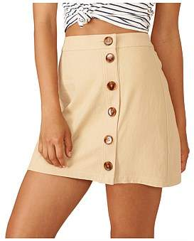 MinkPink Neutral Buttoned Mini Skirt