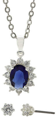 JCPenney SPARKLE ALLURE Sparkle Allure Blue Glass & Cubic Zirconia Earring and Pendant Necklace Set