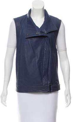 Helmut Lang Leather Moto Vest