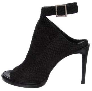 Helmut Lang Leather Embossed Peep-Toe Booties