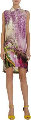 Mary Katrantzou Blossom-Graphic-Print Sleeveless Shirt Dress