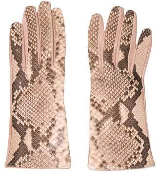 Bergdorf Goodman Embossed Leather Gloves w/ Tags