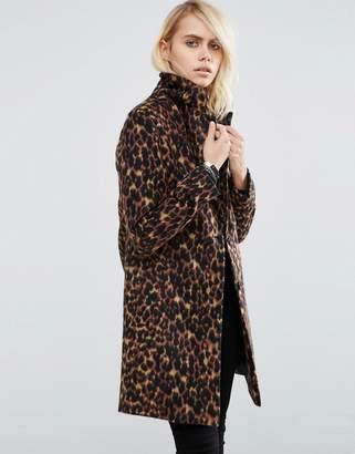 ASOS Slim Coat In Leopard Print $128 thestylecure.com