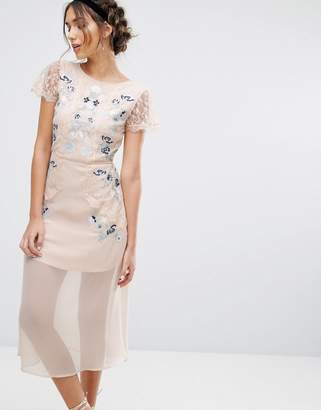 Frock And Frill Frock & Frill Embroidered Panelled Midi Dress