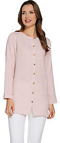 Joan Rivers Classics Collection Joan Rivers Crinkle Texture Button Front Tunic
