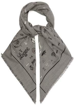Loewe Ppf Wool Blend Scarf - Womens - Grey