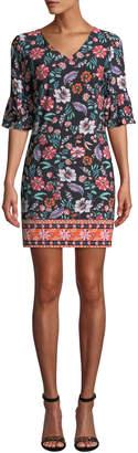 Laundry by Shelli Segal Ruffled Half-Sleeve Floral Sheath Dress