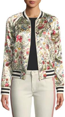 Mother Letterman Floral-Print Bomber Jacket