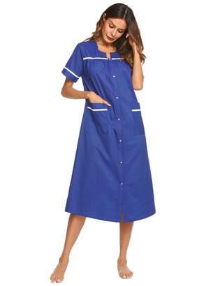 52a00896c78 Ekouaer Plus Size House Dress Women s Short Sleeve Lounger Robe Long  Housecoat Soft Nighty Dress (