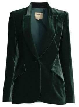 L'Agence Women's Chamberlain Velvet Blazer - Forest Green - Size 8