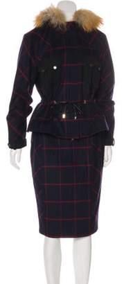 Jason Wu Virgin Wool Plaid Knee-Length Skirt Set Navy Virgin Wool Plaid Knee-Length Skirt Set