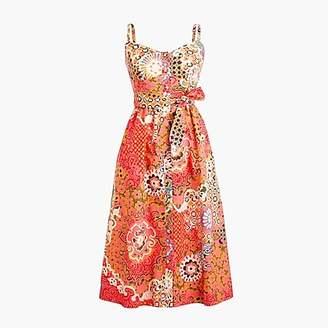 J.Crew Petite classic button-front sundress in cotton poplin paisley