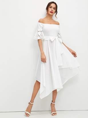 e0dcdea2f9f Shein Laser Cut Sleeve Hanky Hem Bardot Dress
