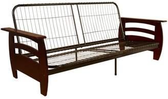 Comfort Style Soho Futon Sofa Sleeper Bed Frame, Full-size, Mahogany Arms