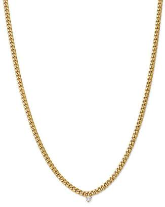 Chicco Zoë 14K Yellow Gold Small Curb Chain Diamond Necklace, 16""