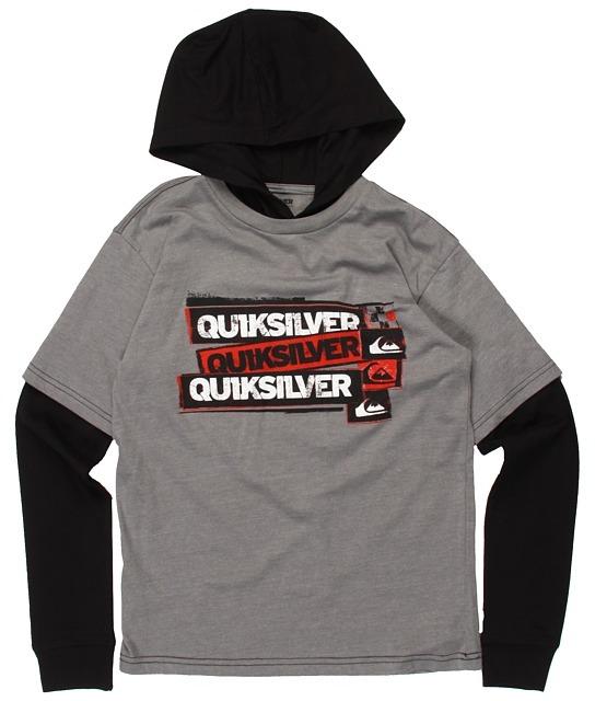 Quiksilver Meddle L/S Hooded Technician (Big Kids) (Smoke Heather/Black) - Apparel