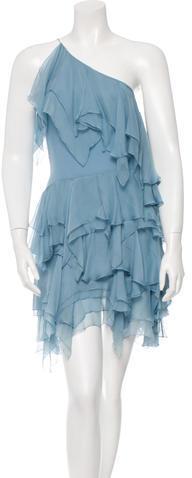 Saint LaurentSaint Laurent One-Shoulder Ruffle-Accented Dress