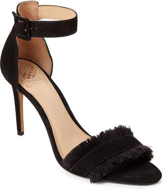 Vince Camuto Black Joshina Fringed High Heel Sandals
