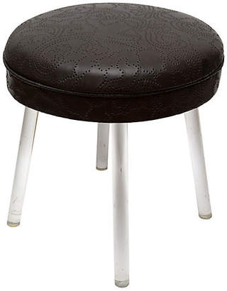 One Kings Lane Vintage Lucite Swivel Stool with Leather Seat