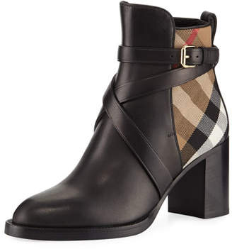 Burberry Vaughan Leather & Check 70mm Block-Heel Booties