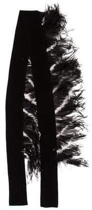 Dries Van Noten Cashmere Feather-Trimmed Scarf