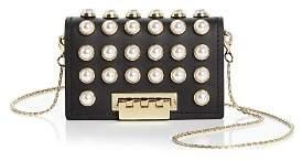 Zac Posen Earthette Faux-Pearl Chain Strap Leather Card Case