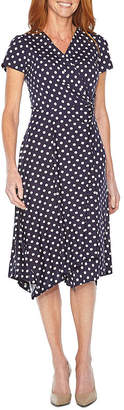 Perceptions Short Sleeve Polka Dot Fit & Flare Dress