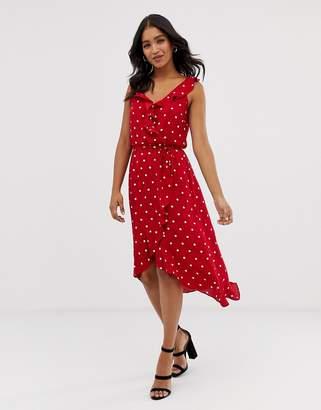 Oasis spotty wrap midi dress