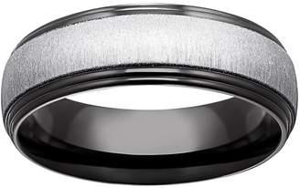 Black Ion-Plated Titanium & Titanium Beveled Band - Men