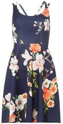 Dorothy Perkins Womens Navy Cross Strap Floral Skater Dress