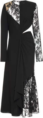 Givenchy Cutout Lace-Paneled Wool-Crepe Midi Dress