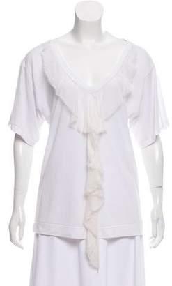 Elizabeth and James Silk-Trimmed Short Sleeve Top