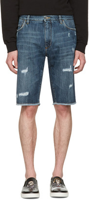 Dolce & Gabbana Blue Denim Frayed Shorts $545 thestylecure.com