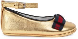 Gucci Baby leather ballet flat with Web