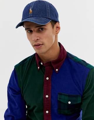 b305a33d22400 Polo Ralph Lauren baseball cap with polo player in dark wash denim blue