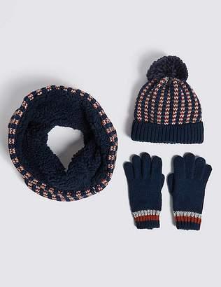 Marks and Spencer Kidsâ Hat, Snood & Gloves Set