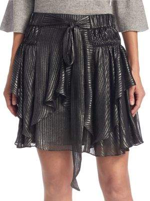 Halston Flounce Pull-On Mini Skirt