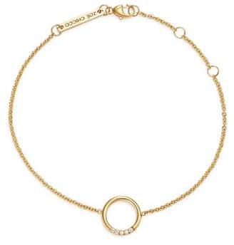 Chicco Zoë 14K Yellow Gold Small Thick Circle Pavé Diamond Adjustable Bracelet