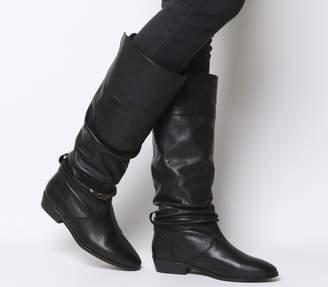 4731bd760963 Office Kassie Vintage Ruched Knee Boots Black Leather
