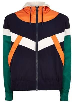Topman Mens Multi Cut And Sew Borg Lined Windbreaker Jacket